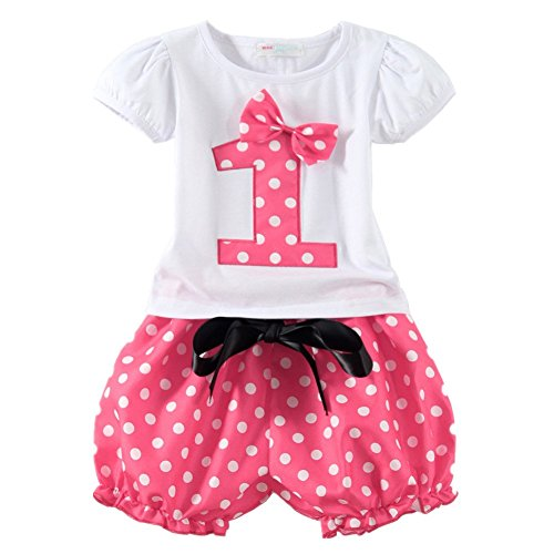 [LittleSpring Baby Girls' Clothing Set Shorts Skirt Birthday Size 1T Pink-shorts-1] (Halloween Outfits For Little Girls)