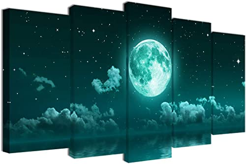 Visual Art Decor Large 5 Piece Teal Canvas Wall Art Fancy Moon Over Sea Landscape Picture Prints Framed and Stretched Canvas Painting
