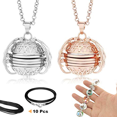 SeaHome 2 Pcs Expanding Photo Locket Necklace Angel Wings Jewelry Decoration Pendant Memorial Gifts for Mother's Day Valentine Birthday (Light Silver + Rose Gold) ()