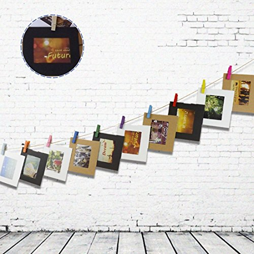 Wall Deco Hanging Picture Paper Photo Frame Mini Clothespins Rope 4 ...