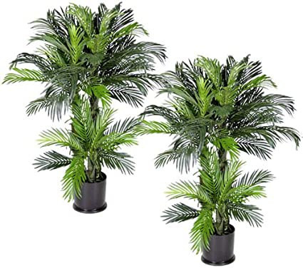 Arcadia Silk Plantation Pre Potted 4 Inch Triple Phoenix Artificial Tropical Palm Trees Set Of 2 Amazon Co Uk Kitchen Home