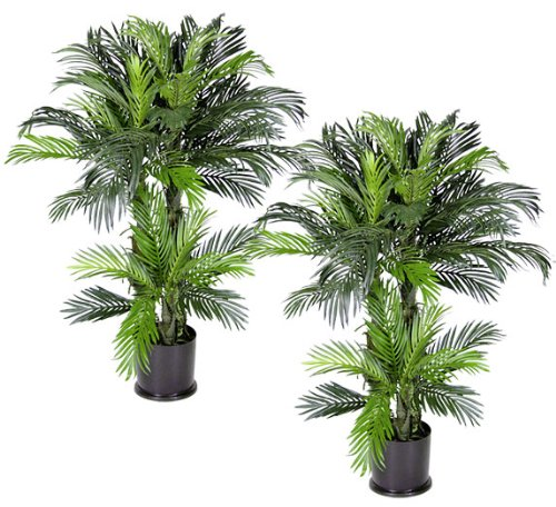 (Arcadia Silk Plantation Pre-Potted Triple Phoenix 4-Feet Artificial Tropical Palm Trees, Set of)