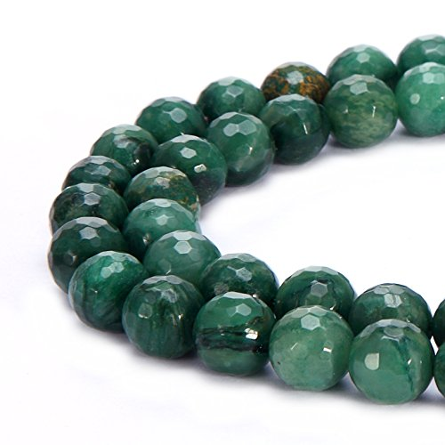 BRCbeads Natural Green Africa Jade Gemstone Loose Beads Faceted Round 10mm Crystal Energy Stone Healing Power for Jewelry Making