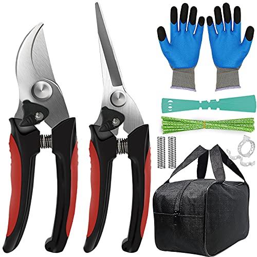 tijeras de podar premium x2/ac.inox.+ guantes y accesorios