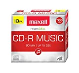 Maxell 625133 1-Time Recording Recordable CD (Audio Only) 700mb/80 Min 10 Pack Slim Jewel