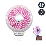 Mini USB Fan with LED Light, Coopsion USB Desk Personal Fan Light Portable Cooling Fan for Power Banks USB Charger Port (Rose)
