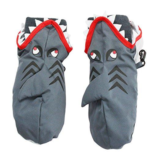 Nolan Boys Shark Ski Mittens Warm Fleece Lined for Winter Snow Toddler 2-4T Grey by Nolan Originals