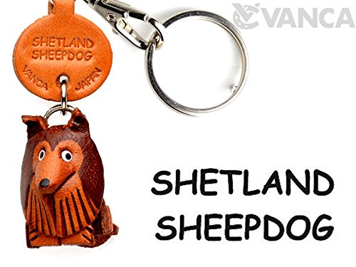 Shetland Sheepdog Leather Dog Small Keychain VANCA CRAFT-Collectible Keyring Charm Pendant Made in (Sheepdog Dog Keychain)