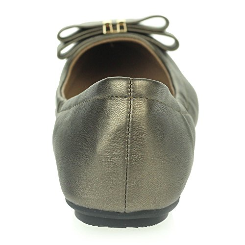 Frau Damen Flaches Ballett Dolly Pumps Ballerinas Geschlossene Zehe Smart Arbeit Büro Komfort Schlüpfen Schuhe Größe Weiß