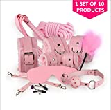 free shiping USA MizzZee Fetish 10pcs Bed Restraints Bondage Love Cuff Bracelets Set Sex Toys for Couples Adult Games,Handcuffs,Rope,Whip