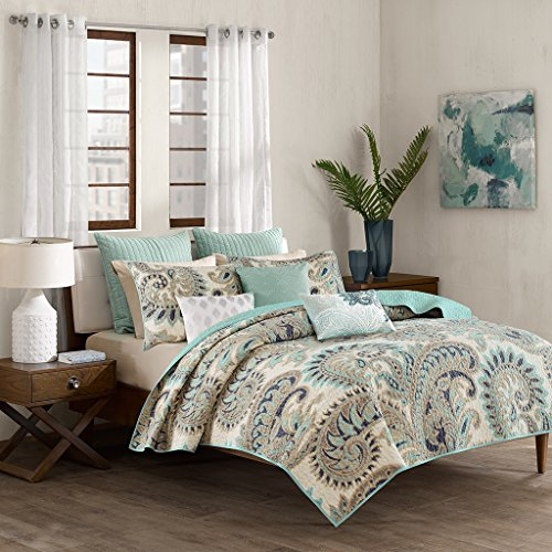 Ink+Ivy Mira King/Cal King Size Quilt Bedding Set - Teal, Paisley – 3 Piece Bedding Quilt Coverlets – 100% Cotton Bed Quilts Quilted Coverlet -