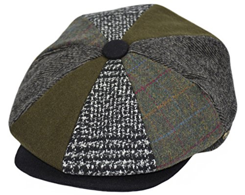 Men's Wool Newsboy Cap, Herringbone Driving Cabbie Tweed Applejack Golf Hat (2323-Patchwork Multi, X-Large) -
