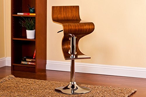 Christies Home Living Bentwood Walnut Stain Finish Contemporary Style Adjustable Barstool With Curved Seat And Back