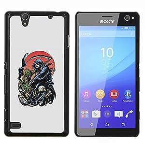 Caucho caso de Shell duro de la cubierta de accesorios de protecci¨®n BY RAYDREAMMM - Sony Xperia C4 - Grim Reaper Death Scythe Maiden