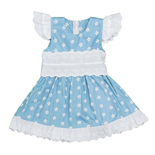 Dress Up Dreams Boutique Lace Cap Sleeve Blue Polka Dot Dress with Floral Eyelet Ruffle Cuff (2T)