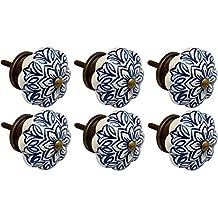 Nicola Spring Ceramic Cupboard Drawer Knobs - Vintage Flower Design - Dark Blue - Pack Of 6