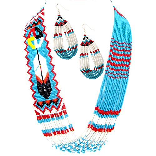 American Tribal Style Handmade Necklace Earrings Set Layered Seed Beaded (Blue)