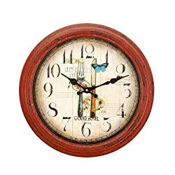 Adeco CK0070 14~15 Red Iron Antique-Look Dial Decorative Vintage Retro Traditional Wall Hanging Round Fork & Knife Round Circle Iron Clock, Roman Numbers, Battery Quartz, Non Ticking Silent Hands, Home Office Decor, Red