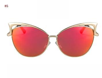 Flashing- Elégant grosses lunettes de soleil de la boîte de mode Trendy lunettes de soleil rétro oeil de chat lunettes de soleil Mme Réparation visage Artefact ( Couleur : #5 ) ZHR4N