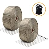 """LIBERRWAY Exhaust Wrap Header Wrap Exhaust Heat Wrap Tap Kit for Car Motorcycle, 2 Rolls of 2"""" x50Ft with 20 Stainless Ties and Gloves"""