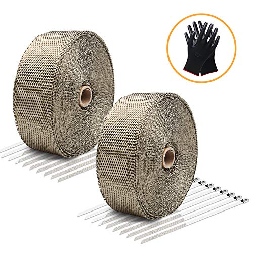 LIBERRWAY Exhaust Wrap Header Wrap Exhaust Heat Wrap Tap Kit for Car Motorcycle, 2 Rolls of 2