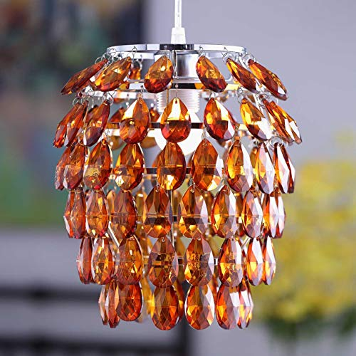 Amber Raindrop Chandelier - Topotdor Crystal Chandelier, Chrome Flush Mount Ceiling Light Fixture with Raindrop Crystals, Modern Ceiling Lighting for Hallway, Bedroom, Living Room, Kitchen (Amber)