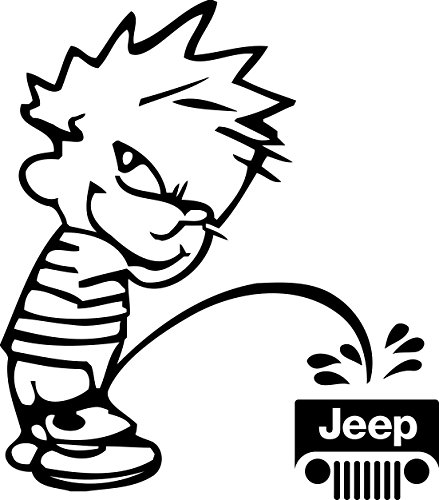 Calvin Peeing on Jeep