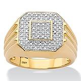 Men s 10K Yellow Gold Diamond Octagon Ring (.09 cttw, HI Color, I3 Clarity)