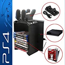 Anrain PS4/PS4 Slim Multifunctional Detachable Holder Game Disk Storage Tower with Dual Dock Controller Charging Station and Console Stand Holder