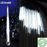 LEDJump® 20 Inches Snowfall 16 Feet Wire Extension Waterproof Transformer LED Lights Outdoor Double Sided, Set of 12 Link up to 3 Sets Meteor Shower Tree Decor Holiday Party Wedding Christmas Upgraded