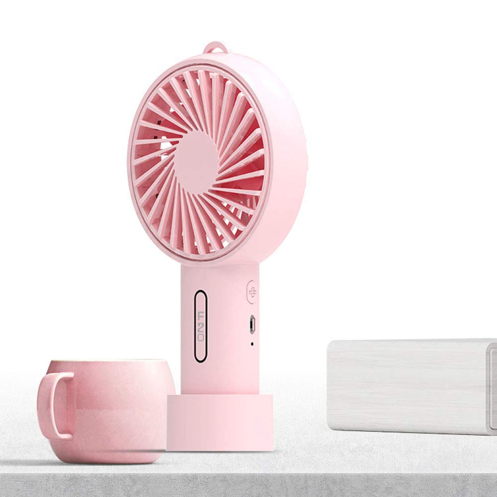Handheld Mini Fan Battery Operated Small Personal Portable Table Fan with Adjustable USB Rechargeable Fan Cute Design Powerful Energy for Home Office Household Outdoor Travel Trip Pink