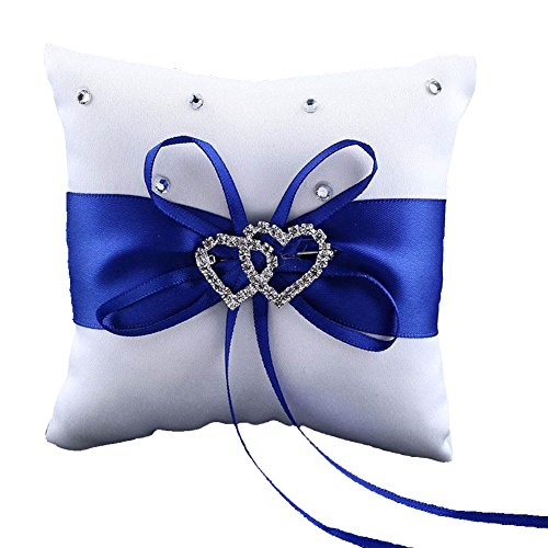 - CHUANGLI Double Heart Rhinestones Wedding Ring Pillow with Elegant Satin Cushion Royal Ribbon Decor Blue