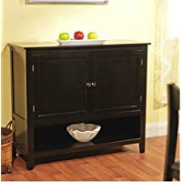 Andover Buffet Server in Amazing Black Finish - This Accent Table Furniture Is a Storage Addition and Decor to Your Home - This Sideboard Has Cabinets w/ Adjustable Shelf - Satisfaction Guaranteed!