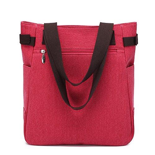 Bags Women's Fashion Shoulder Red Handbag Elegant Hobos Totes Canvas Slingbag and KAUKKO Striped UvdYwFxx