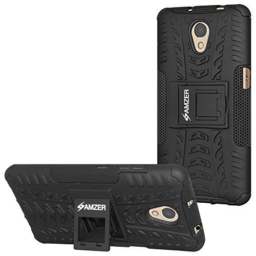 AMZER Slim Protective Shockproof Hybrid Warrior Dual Layer Case Skin for  Lenovo P2 - Black