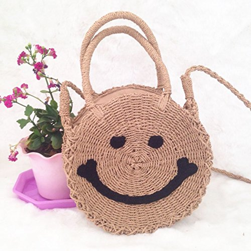 Purse Light Crossbody Women and Round Shoulder Beach Smile Summer Bag Handbags Bag Straw Weave Brown pz77w