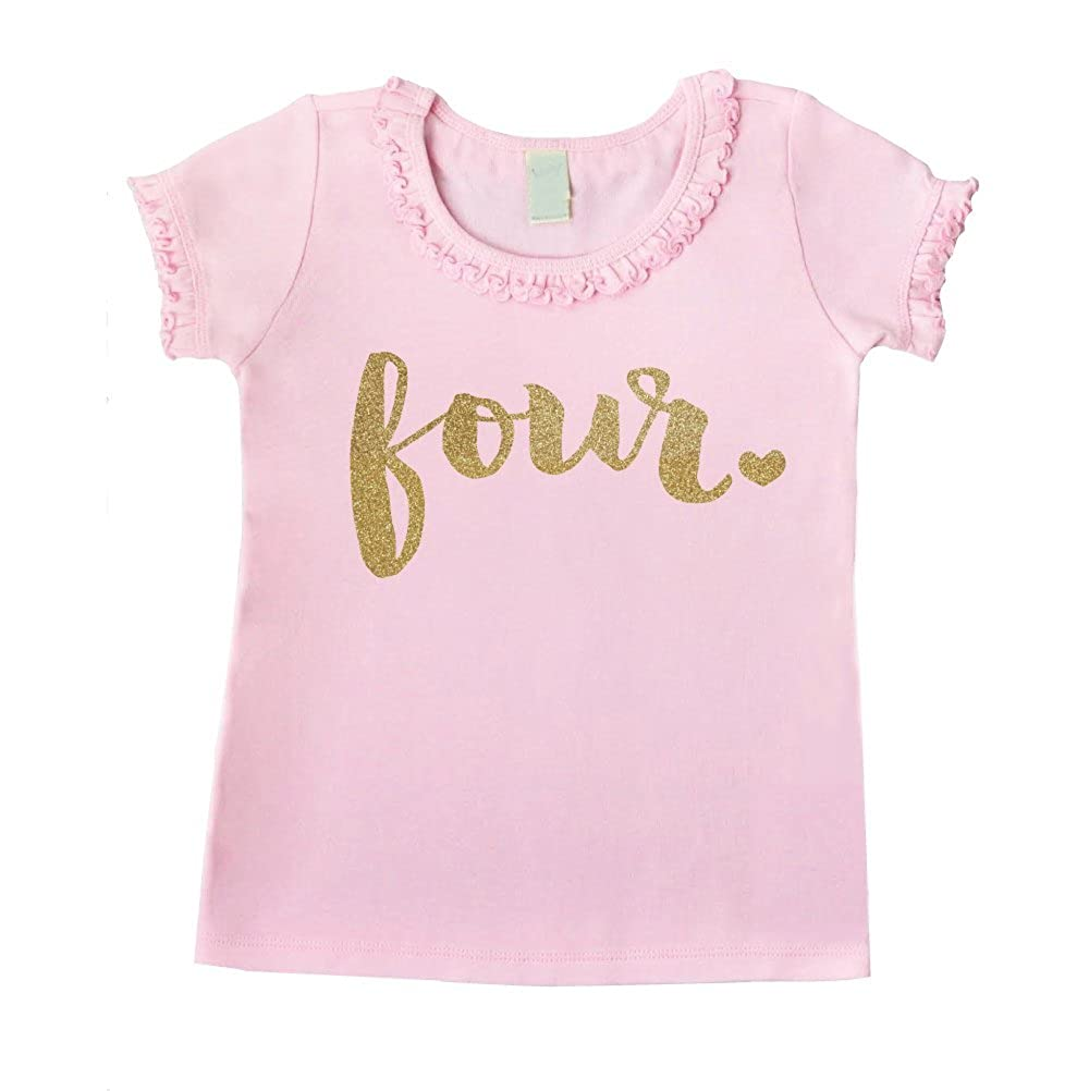 f99c24493 Amazon.com: Bump and Beyond Designs Fourth Birthday Outfit Girl Four Year  Old 4th Birthday Shirt: Clothing