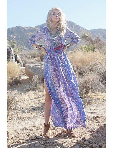 PU&PU Robe Aux femmes Swing Décontracté / Mignon Col en V Maxi Coton , lavender-l , lavender-l
