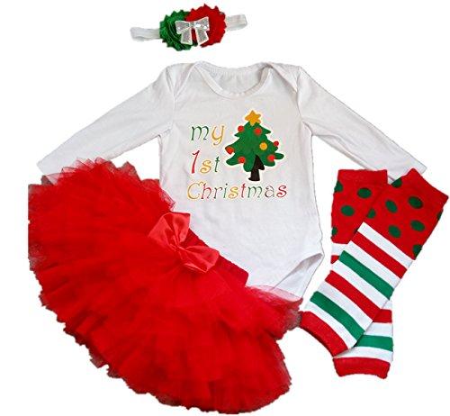 AISHIONY Baby Girl My 1st Christmas Tutu Onesie Costume Newborn Outfit 4PCS L (Newborn Christmas Costume)