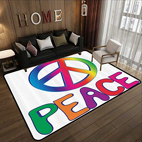 - Truck mats,1960s Decorations Collection,Peace Text with Peace Sign Type Line Love Political Hippie Groovy Artistic Clipart Image,Pi 78.7