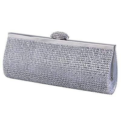 ECOSUSI Elegant Rhinestones Clasp Flap Clutch Evening Handbag Purse
