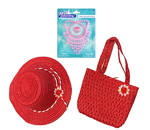 Fancy Girl Dress-Up Costume Accessories - Tea Party Accessories - HAT, PURSE, JEWELRY (Red)