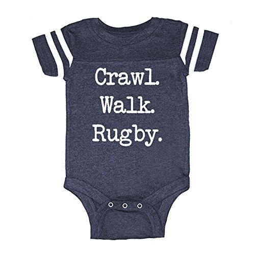 LOL Baby! Crawl Walk Rugby Baby Football Jersey Bodysuit (Vintage Navy, 6 Months) - Baby Rugby