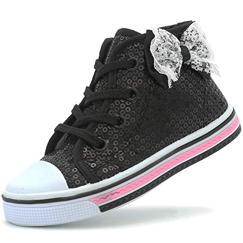 Canvas Sneakers Shoes for Toddler Girls Infant Baby Strap Soft Comfortable Easy Walk (8 M US T, Black-3)]()