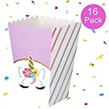 #5: Unicorn Party Supplies Rainbow Treat Boxes for Party Favors, Popcorn, Candies, Snacks, Goodies-Gifts for Birthday Parties, Baby Showers, Weddings – 16 Pack