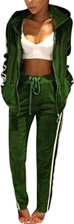 TOP-MAX Women's Velour Stripe Jogging Zipped Hoodie, Fashion Sport Suit, Hoodie and Pants Sports Suits Tracksuits (01-Green, XXXL)