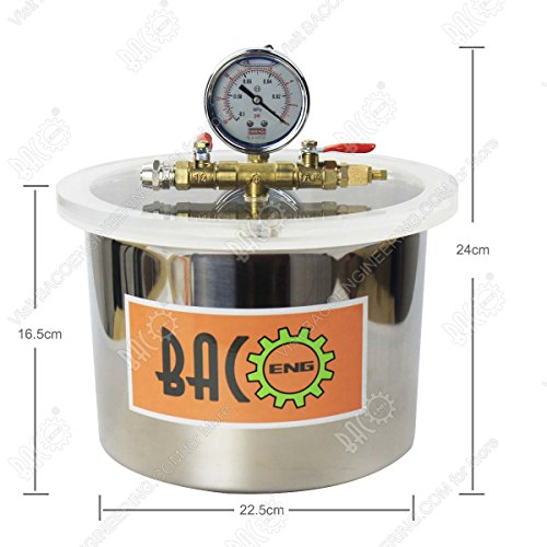 BACOENG 1 1/2 Gallon Vacuum Chamber Kit with 3.6 CFM 1 Stage Vacuum Pump HVAC by BACOENG (Image #5)