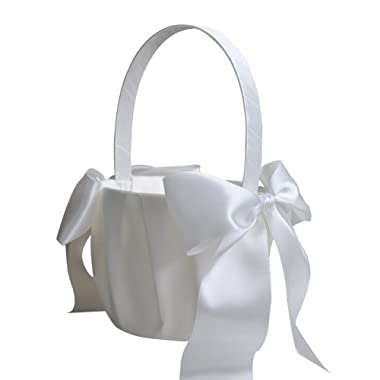 Lothver Satin Wedding Flower Girl Basket Romantic Cute Double Bow Decor Ivory