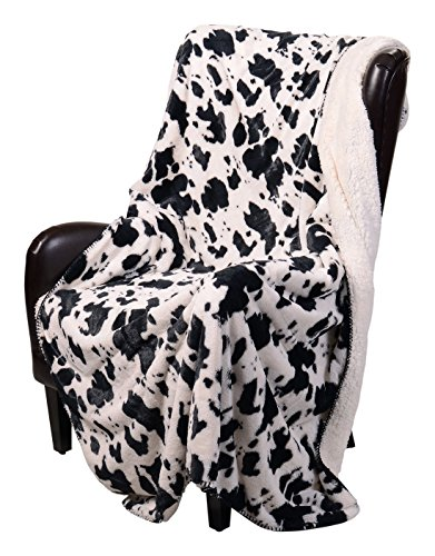 Regal Comfort Sherpa Luxury Throw Western Style Cow Print