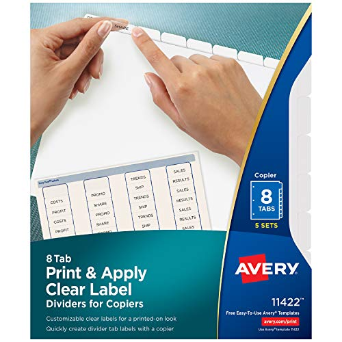 Avery Index Maker Clear Label Copier Dividers with White Tabs, 8-Tab, 5 Sets per Pack (11422) Avery Index Maker White Dividers